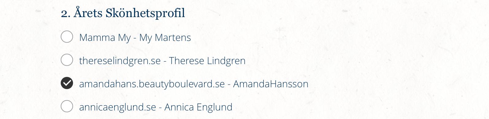 Nominerad Årets Skönhetsprofil SocialU mässa amandahans skönhetsblogg, Återblick 2016