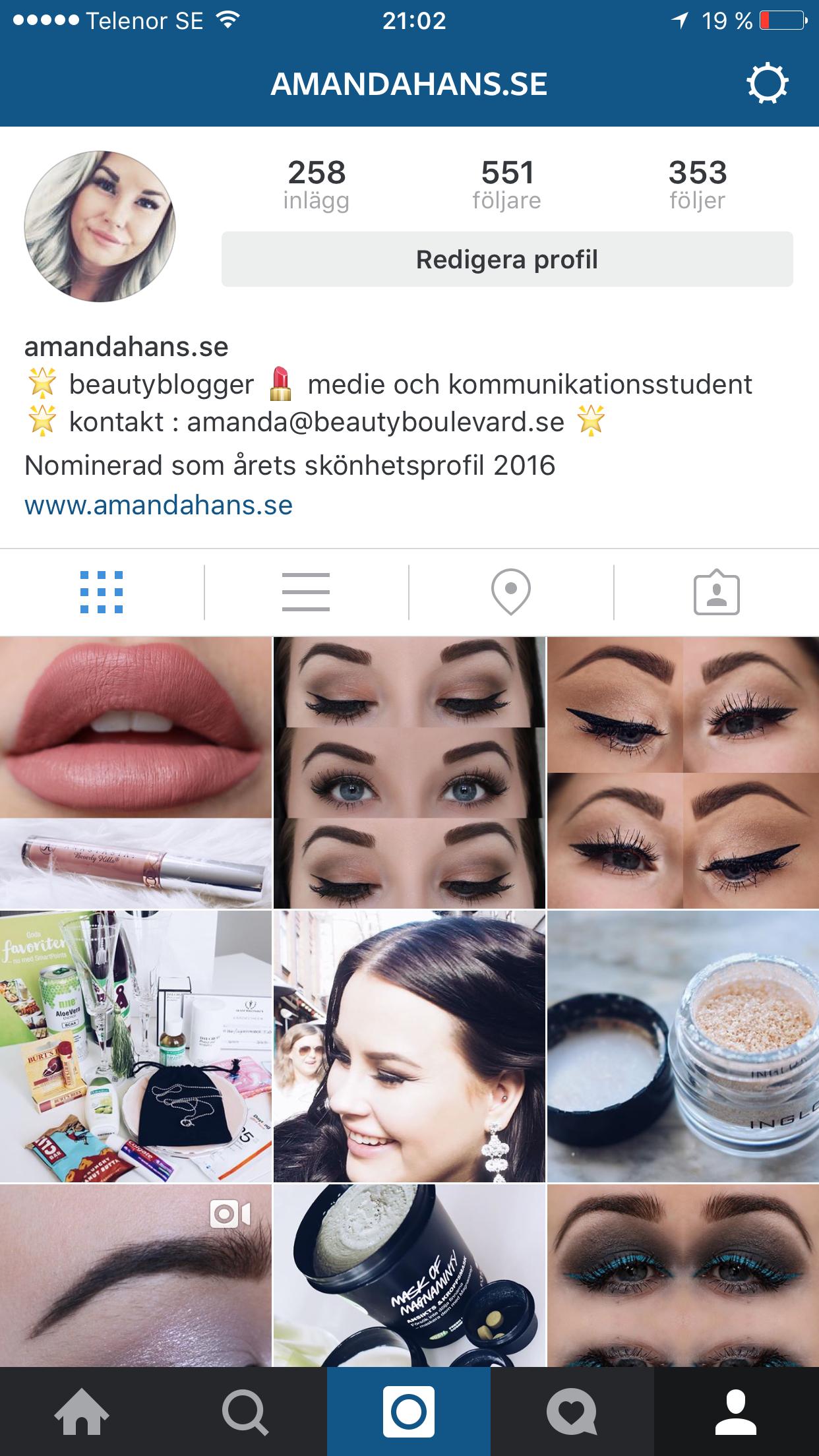 Vad heter du på Instagram? Skönhetsblogg amandahans