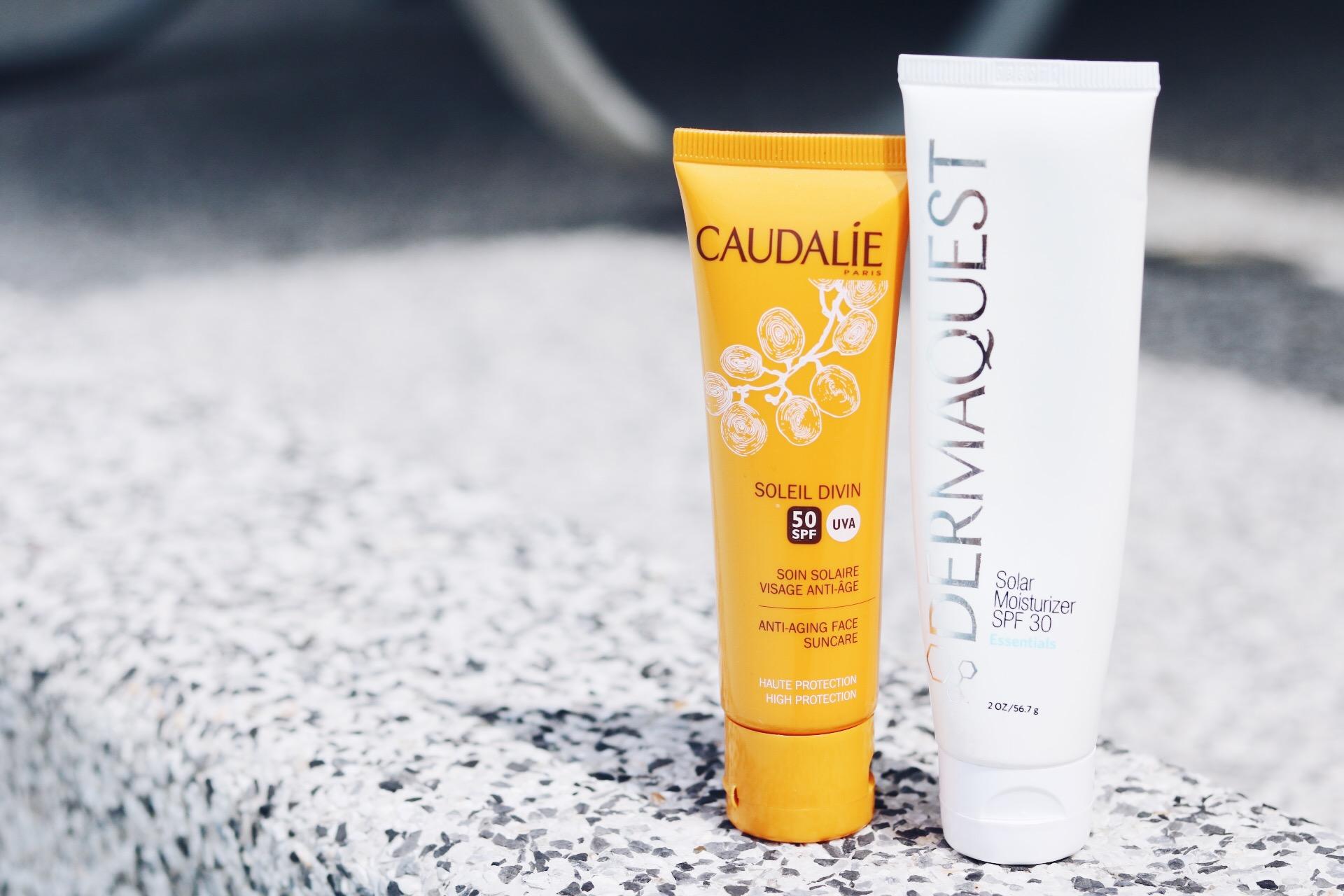 Solskydd för ansiktet, Caudalíe caudlaie, solskydd, dermaquest, amandahans skönhetsblogg ansiktskräm hudvård SPF 50, SPF 30