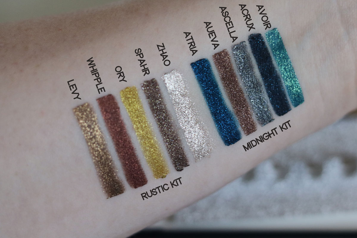 Swatches, Swatched, test, färger, Linda Hallberg, Kicks Flagship Malmö, Kicks Flagship, Kicks, flash crayons, midnight kit, rustic kit, amandahans, skönhetsblogg